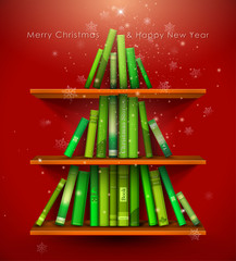 """Christmas Stories"". Christmas tree formed from books."