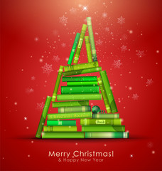 """""""Christmas Stories"""". Christmas tree formed from books."""