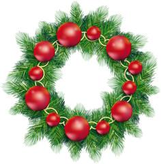 Corona di Natale con palline rosse