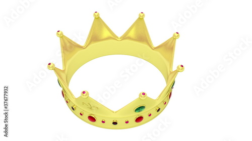 Crown rotates on white background