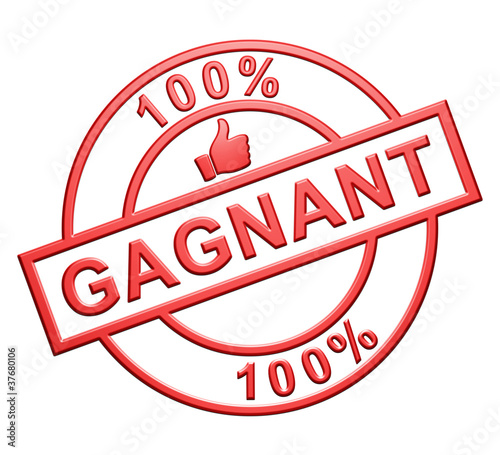 """100% Gagnant"" Cachet (rouge)"