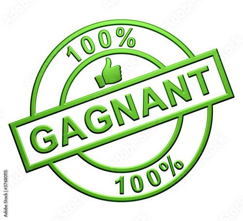 """""""100% Gagnant"""" Cachet (vert)"""