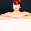 portrait of attractive young red hair female model woman