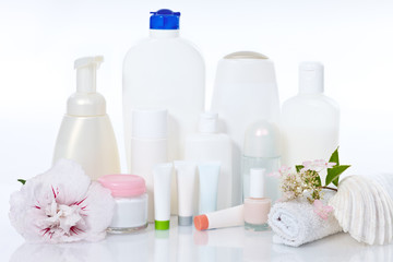 care supplies on white