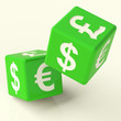 Currency Signs On Green Dice As A Symbol Of Foreign Exchange