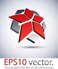 3D modern star logo icon.