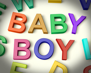 Baby Boy Written In Multicolored Kids Letters