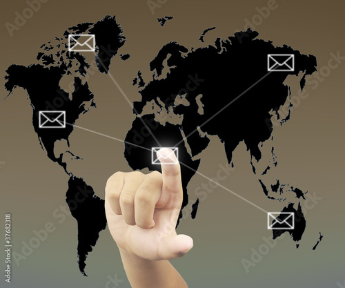 Human hand pressing on mail buttom