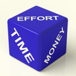 Effort Time Money Blue Dice