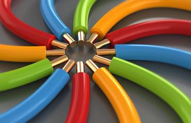 Electrical cables focus concept