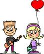 Постер, плакат: Любители девочка и мальчик вектор фон