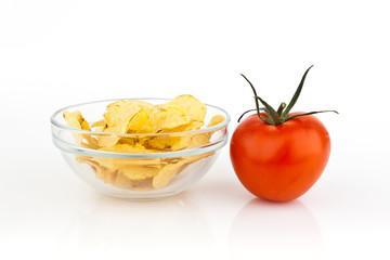 Potato chips with tomato.