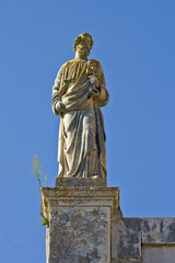 Statue of a saint on the parish church of St.Blaise in Vodnjan