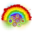 Background with rainbow and circles