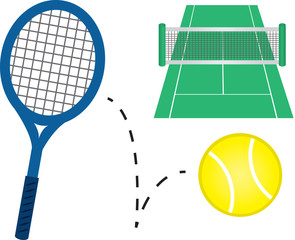 Tennis racket, tennis ball and court