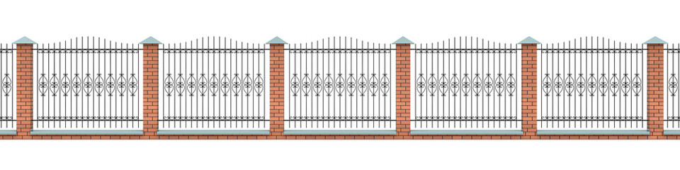 The brick fence with the shaped iron grid