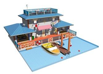 Porto-Porticciolo-Molo-Attracco-Marina-Dock-3d Plan