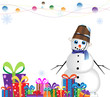 Happy snowman in a blue scarf