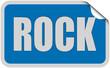 Sticker blau eckig curl oben ROCK