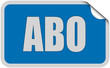 Sticker blau eckig curl oben ABO