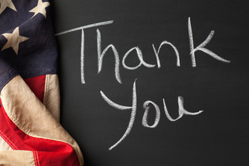 Thank you sign with vintage american flag