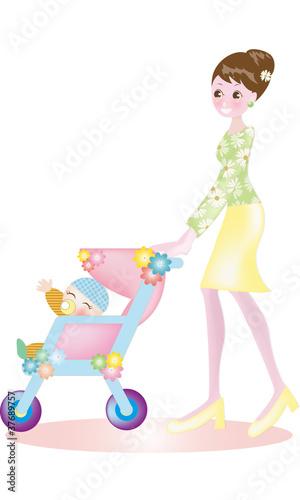 赤ちゃんとお散歩♪