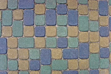 Cobblestone Texture Background Closeup green yellow blue