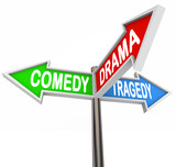 Comedy Drama Tragedy - 3 Colorful Arrow Signs Theatre poster