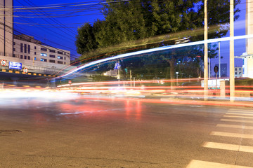 light traces from moving cars at night