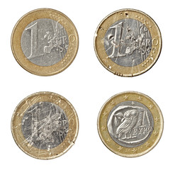 euro coin damaged worn down finance crisis