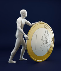 Man rolling a Euro coin