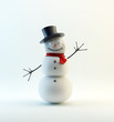 A waving, smiling snowman  with a red scarf