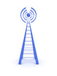 Wireless tower isolated on white background. 3D image