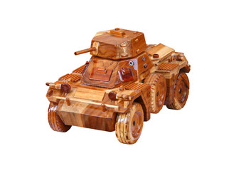 A Wooden Model of a Ferret Armoured Scout Car.