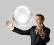 Businessman with sphere