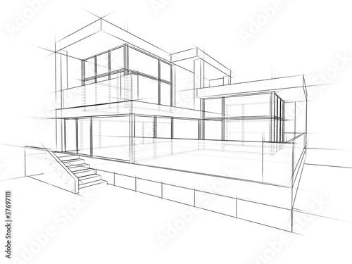 Gamesageddon architektur entwurf lizenzfreie fotos for Modernes haus zeichnung