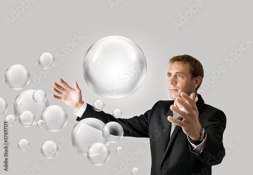 Businessman with bubbles