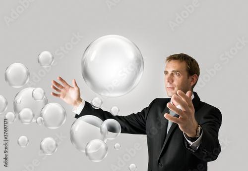 Businessman with bubbles