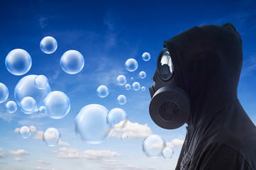 Man breathing bubbles