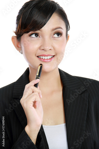 beautiful business woman thinking