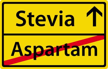 Stevia anstatt Aspartam Schild Zeichen Symbol Ortsausgang