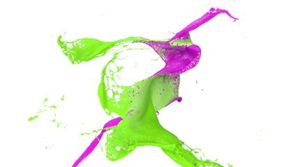 grüne und lila Farbe prallt in Zeitlupe aufeinander