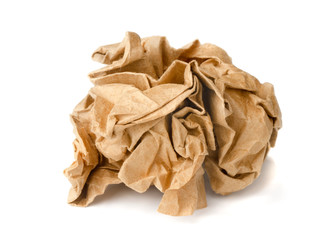 Brown crumpled wrapping recycled paper