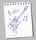 sketchy stylized illustration of a guitar poster