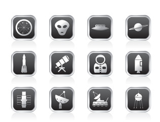 Astronautics and Space Icons - Vector Icon Set