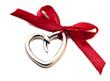 petit coeur argenté noeud rouge