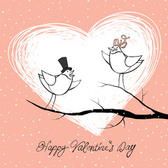 Two lovers birds. Valentine's Day celebration background. Vector