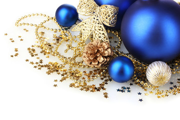 beautiful blue Christmas balls and cone isolated on white
