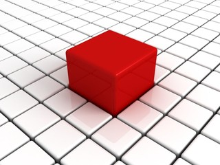 Different unique big red cube in white others