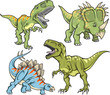 Dinosaur Vector Illustration Set - 37709915